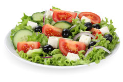 Greek salad with tomatoes, Feta cheese and olives in bowl Stock Images