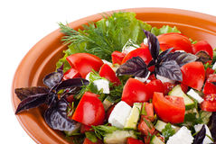 Greek Salad with Tomatoes, Feta and Vegetables Stock Photography