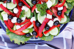 Greek salad, top view Royalty Free Stock Photo