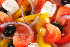 Greek salad. Traditional Greek salad close up Stock Photography