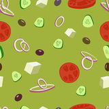 Greek salad vector seamless pattern.Greek olive, tomatoes salat background. Royalty Free Stock Images