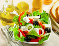 Greek salad. Greek vegetable salad with feta cheese Royalty Free Stock Photo