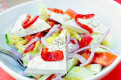 Greek salad. Vegetables and cheese Royalty Free Stock Photography