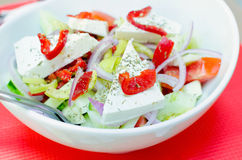 Greek salad. Vegetables and cheese Stock Photography