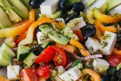 Greek salad with vegetables for healthy food. Traditional Mediterranean food stock photos