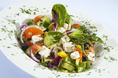 Greek Salad W Fetta Cheese Stock Images