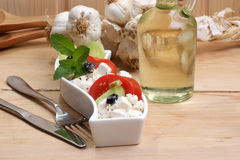 Greek salad in a white bowl Stock Image