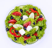 Greek salad in white bowl Royalty Free Stock Photo