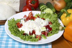 Greek salad in the white plate Stock Photos