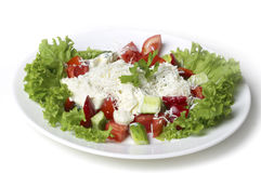Greek salad in the white plate Royalty Free Stock Image