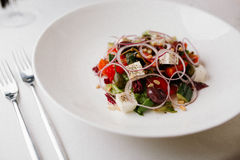 Greek salad on the white plate Stock Photography
