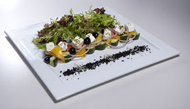 Greek salad on white plate isolated. Greek salad on square white plate isolated on white royalty free stock photo