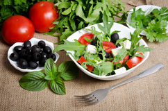 Greek salad in white salad bowl Stock Photos