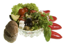Greek salad with whole-grain bread Stock Image