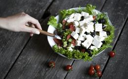 Greek salad wit tomato. Cheese and olives royalty free stock image