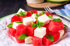 Greek Salad With Watermelon, Feta And Fresh Mint Stock Photos