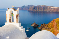 Greek Santorini church sea view Royalty Free Stock Photos