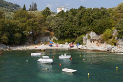 Greek scenic fishing village at Pelion Stock Photos