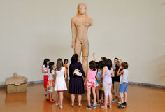 Greek school class at the museum Stock Photo