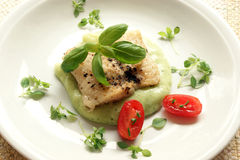 Greek sea bream fillet, mashed potatoes Royalty Free Stock Photos