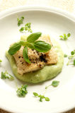 Greek sea bream fillet with mashed potatoes Royalty Free Stock Photos