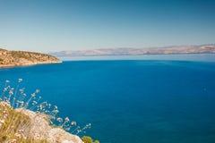 Greek sea coastline, seascape stock image