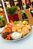 Greek seafood platter in a restaurant Stock Image