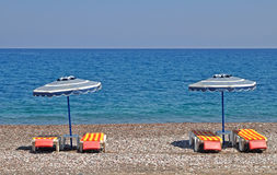 Greek shingle beach Royalty Free Stock Photo