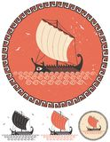 Greek Ship. Stylized illustration of ancient Greek ship in 4 different versions Royalty Free Stock Photo