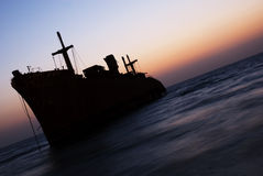 The Greek Ship in Kish Island sunset Stock Photo