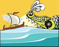 Greek Ship and Sea Monster. Stock Photos