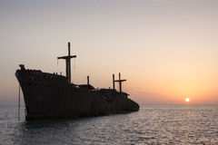 The Greek Ship Wreckage. In Kish Island at Sunset Stock Photos