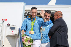 Greek shooting star Anna Korakaki - Rio Olympics. Thessaloniki, Greece - August 11, 2016: Greek shooting star Anna Korakaki has arrived in Thessaloniki, Greece Royalty Free Stock Image