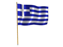 Greek silk flag Stock Image