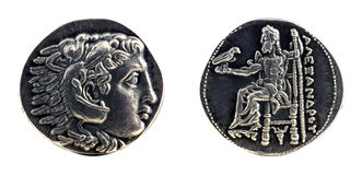 Greek silver tetradrachm from Alexander the Great. Showing Hercules wearing lion skin at obverse and Zeus at reverse, dated 323-315 BC
