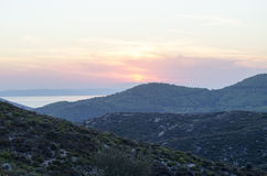 Greek Sithonia island. South Sithonia Island Halkidiki Greece at sunset Royalty Free Stock Photo