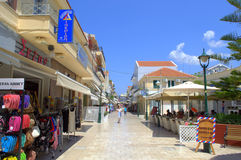 Greek small town main street. The main commercial street in Argostoli town,Kefalonia island,Greece Stock Photos