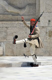 Greek soldier marching Stock Image