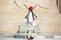 Greek soldiers Evzones dressed in full dress uniform Stock Photos