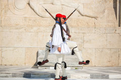 Greek soldiers Evzones dressed in full dress uniform Stock Image