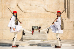 Greek soldiers Evzones dressed in full dress uniform Stock Photography