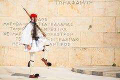 Greek soldiers Evzones dressed in full dress uniform Stock Images