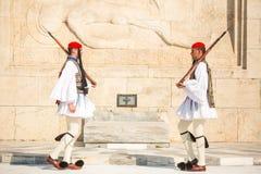Greek soldiers Evzones dressed in full dress uniform Royalty Free Stock Image