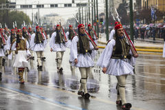 Greek soldiers Evzones dressed in full dress uniform during Independence Day of Greece Stock Photo
