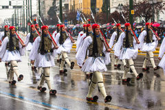 Greek soldiers Evzones dressed in full dress uniform during Independence Day of Greece Stock Images