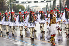 Greek soldiers Evzones dressed in full dress uniform during Independence Day of Greece Royalty Free Stock Photo