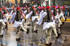 Greek soldiers Evzones dressed in full dress uniform during Independence Day of Greece, royalty free stock photo