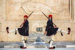 Greek soldiers Evzones dressed in full dress uniform, refers to the members of the Presidential Guard Stock Images