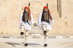 Greek soldiers Evzones dressed in full dress uniform, refers to the members of the Presidential Guard Royalty Free Stock Image