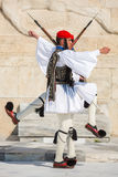 Greek soldiers Evzones dressed in full dress uniform, refers to the members of the Presidential Guard Stock Image